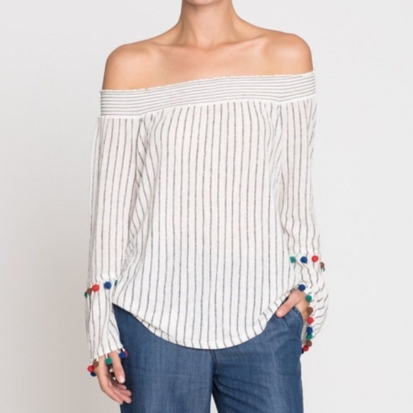 7f978a75a7f Nordstrom Tops | Nic Zoe Pompom Off The Shoulder Bell Sleeve Top ...